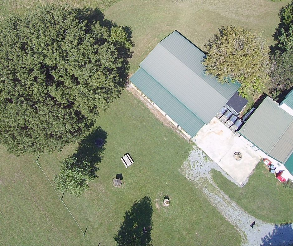 Overhead drone picture of our picnic area